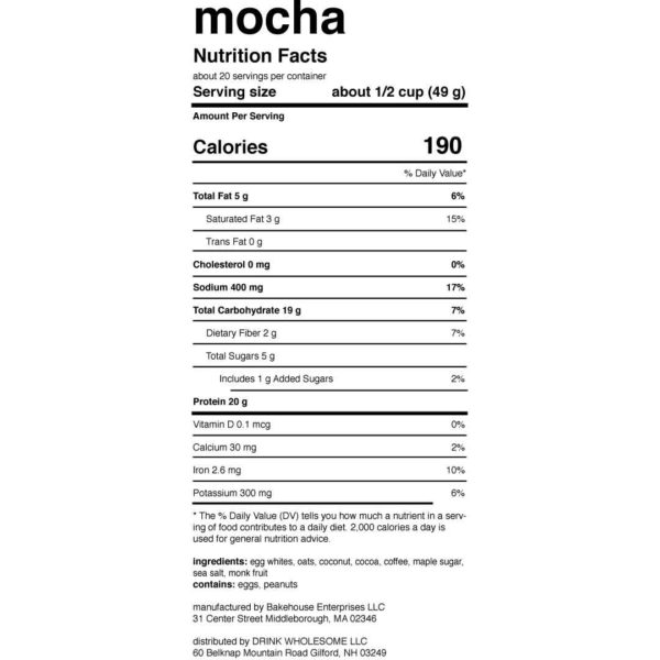 drink wholesome protein powder review mocha